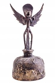 pic of garuda  - an ancient indian garuda bell isolated over a white background - JPG