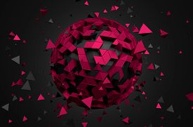 stock photo of sci-fi  - Abstract 3d rendering of low poly sphere with chaotic structure - JPG