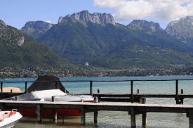 foto of annecy  - Overview of Lake of Annecy and Forclaz mountain in france - JPG