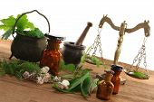 pic of naturopathy  - Pharmacists scale with mortar old pot apothecary jar and fresh herbs - JPG