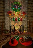 cozy holiday fireplace poster