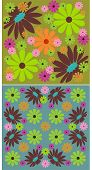stock photo of femenine  - vector illustration of 2 floral abstract patterns - JPG