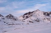 stock photo of hatcher  - View of Independence Mine in Hatcher Pass Alaska during winter - JPG