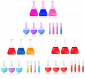 Colorful And Red Science Chemical Substance In Chemistry Test Tube And Beaker Tool Icon Set For Labo poster