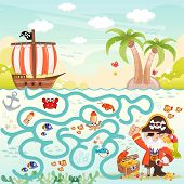 Pirates and treasure box maze game for children poster