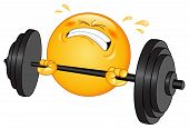 stock photo of weight lifter  - Vector design of a weight lifter emoticon - JPG