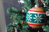 Gold Christmas Ornament On Tree