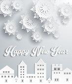 Happy New Year Snow City Design poster