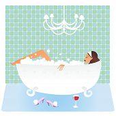Girl taking a bath