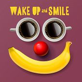 Wake up and smile, motivation background poster