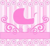 Vector Illustration Of A Cute Baby Girl Stroller On Pink Striped Background