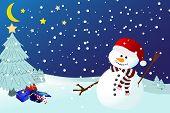 Snowman On A Snowy Winters Night