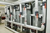 stock photo of pressure vessel  - Interior of independent modern gas boiler room with manometers and thermo - JPG