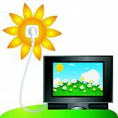 pic of televisor  - TV set using solar energy directly from sun across electric wire - JPG