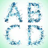 Alphabet water drop abcd