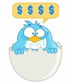 Постер, плакат: Синий мультфильм птица с сотового телефона