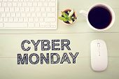 Cyber Monday Message With Workstation poster