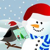Bird Giving Christmas Card To Snowman
