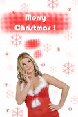 Beautiful Sexy Santa Clause Woman In Party Red Christmas Clothes . Isolated On White Background