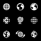 Vector White World Map Icon Set poster