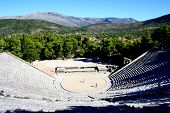 image of epidavros  - view over the ancient theatre of epidavros - JPG