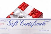 Bright Red Gift With A Gift Certificate