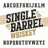 Single barrel whiskey label font with sample design. Ideal for any design in vintage style. Vector. poster