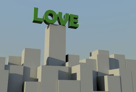 stock photo of soulmate  - green love text placed over building blocks - JPG