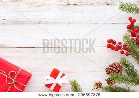 Christmas background - Christmas present red gifts box and decorating elements on white wooden background. Creative Flat layout and top view composition with border and copy space design. poster