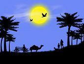 pic of camel-cart  - background with the mother and children in naturevector illustration - JPG