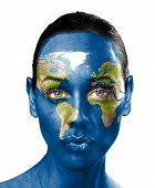 World map on beauty woman face