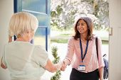 Senior woman greeting female care worker making home visit poster