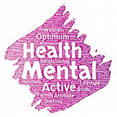 Conceptual mental health or positive thinking paint brush word cloud isolated background. Collage of poster