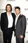 BEVERLY HILLS - MAR 13:  Jared Padalecki, Jensen Ackles arriving at the Paleyfest 2011 event honorin