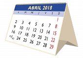 April 2018 Desk Calendar In Spanish Abril 2018 poster