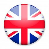 Flag of UK in the form of a round button with a light glare and a shadow. The symbol of Independence poster