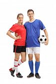 Full length portrait of a female soccer player and a male soccer player with a football isolated on  poster