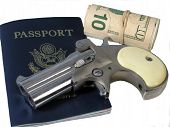 stock photo of derringer  - Spy Tools is a photo of a passporta roll of money and a derringer over white - JPG