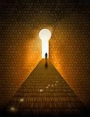 Surreal digital art. Man walks on a stones road to Heaven. Doorway in a shape of keyhole. Light bulb poster