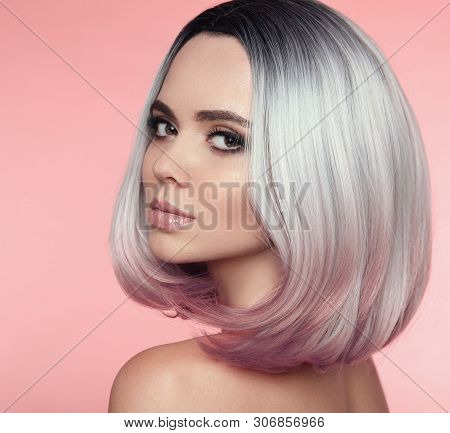 poster of Girl Portrait Of Ombre Bob Short Hairstyle. Beautiful Hair Coloring Woman. Trendy Puprle Haircut. Bl