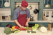 Chef Cooking Vegetarian Recipe. Man Chef Wear Apron Cooking Kitchen. Man Cook Vegetarian Recipe With poster