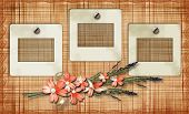 Old Photoframes Are Hanging On The Vintage Background.