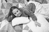 Comfortable Pajamas For Relax. Girl Little Kid Wear Soft Cute Pajamas While Relaxing On Bed. Pajamas poster