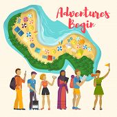 Flat Cartoon Different Age And Nationality Tourists Hiking With Female Tour Guide And View Of Sea Sh poster