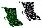 British Columbia (provinces And Territories Of Canada, Bc) Map Is Designed Cannabis Leaf Green And B poster