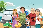 foto of nuclear family  - A vector illustration of a multi generation family on a beach vacation - JPG
