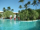 pic of greater antilles  - holiday resort with pool at the Dominican Republic a island of Hispanola wich is a part of the Greater Antilles archipelago in the Carribean region - JPG