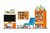 Comfortable Sofa In Living Room With Plasma Tv Vector Illustration Design poster