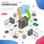 Data Network Cloud Computing Technology Isometric Business Concept With Network Server, Computer, La poster