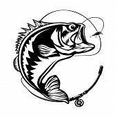Fishing Logo. Bass Fish With Rod Club Emblem. Fishing Theme Illustration. Isolated On White. poster